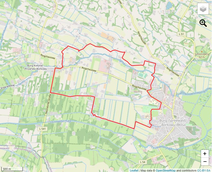 """Tourverlauf der Tour Die """"rote"""" Nordic Walking Tour durch Burg (Spreewald)"""