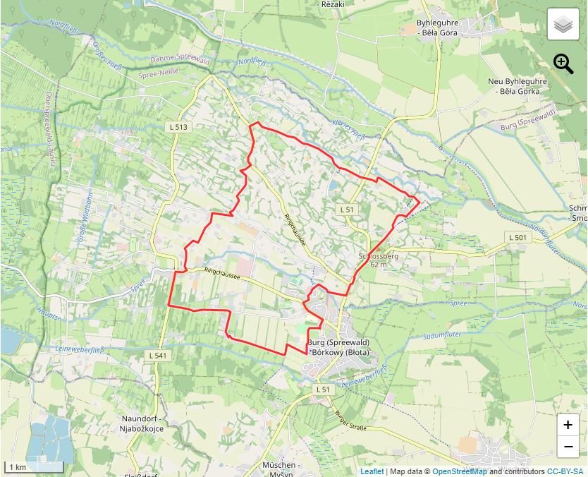"""Tourverlauf der Tour Die """"schwarze"""" Nordic Walking Tour durch Burg (Spreewald)"""