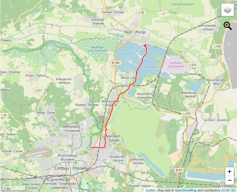 Tourverlauf der Tour Kanutour: Vom Spreewehr in Cottbus nach Peitz