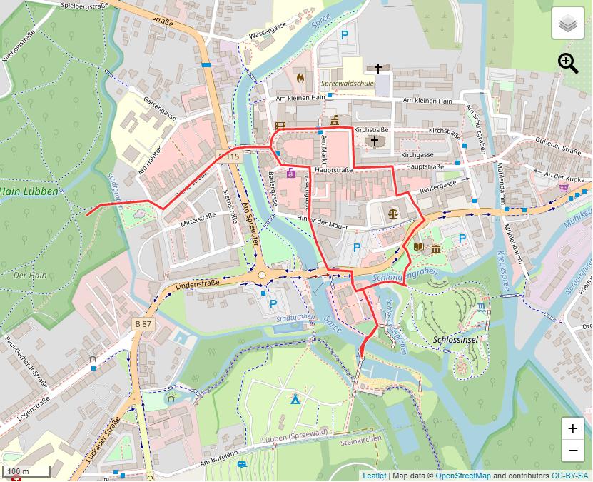 Tourverlauf der Tour Stadtrundgang durch die Spreewaldstadt Lübben