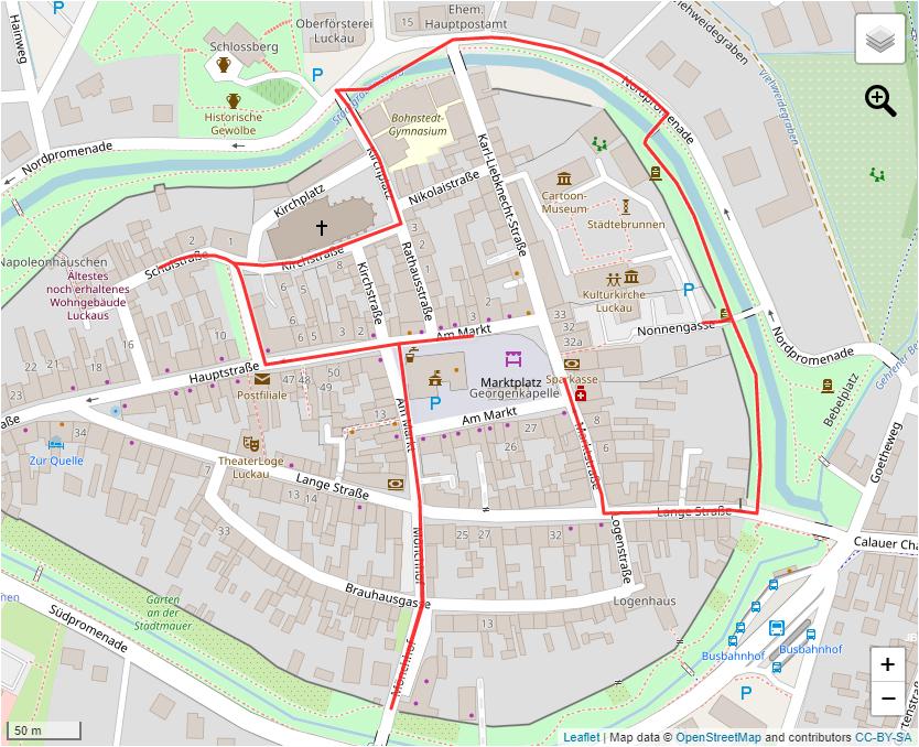 Tourverlauf der Tour Stadtrundgang zur Kloster- und Knastgeschichte in Luckau