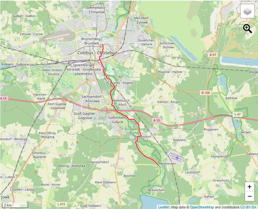 Tourverlauf der Tour Wanderung von Cottbus nach Neuhausen/Spree