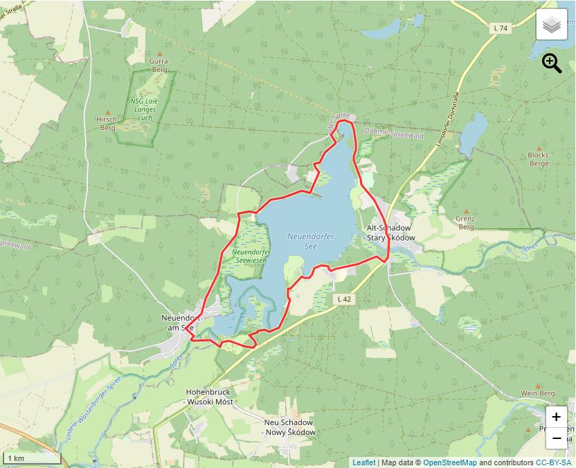 Tourverlauf der Tour Zu Fuß rund um den Neuendorfer See