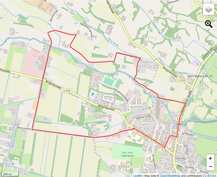 Tourverlauf der Tour Der Nowy Rundweg – Eine Wanderung durch Burg (Spreewald)