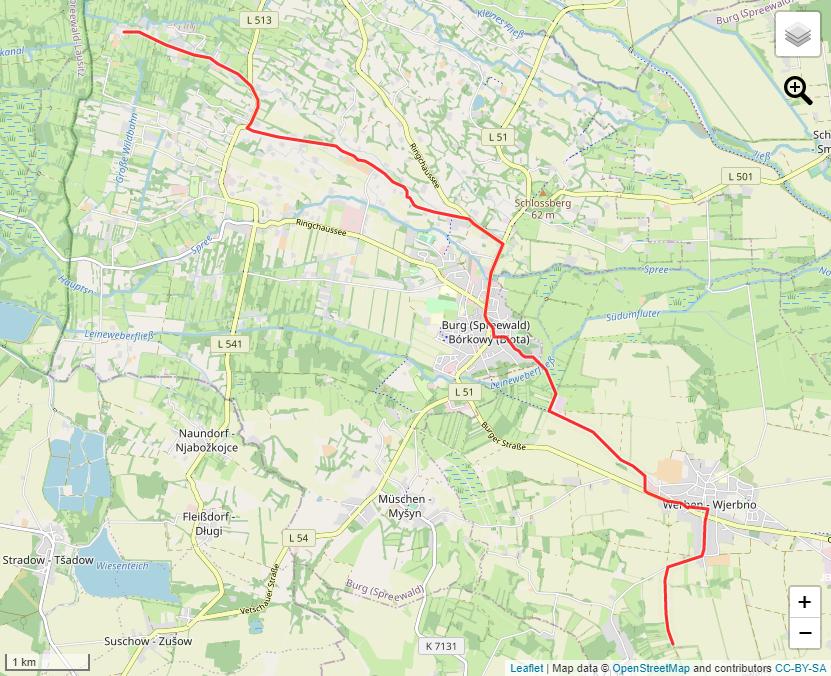 Tourverlauf der Tour Wandern von Burg (Spreewald) nach Werben