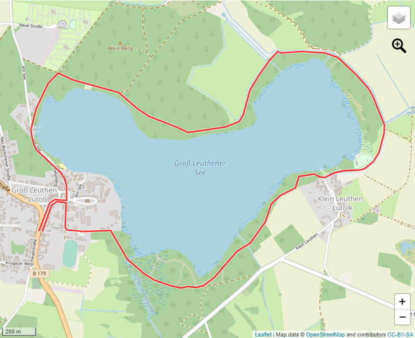 Tourverlauf der Tour Zu Fuß rund um den Groß Leuthener See