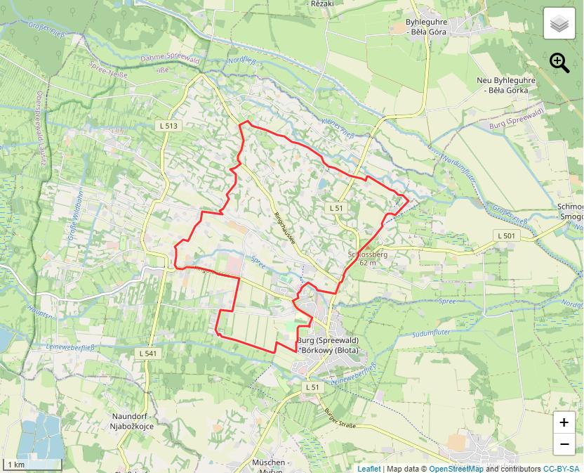 Tourverlauf der Tour Auf einer Wandertour Burg im Spreewald entdecken