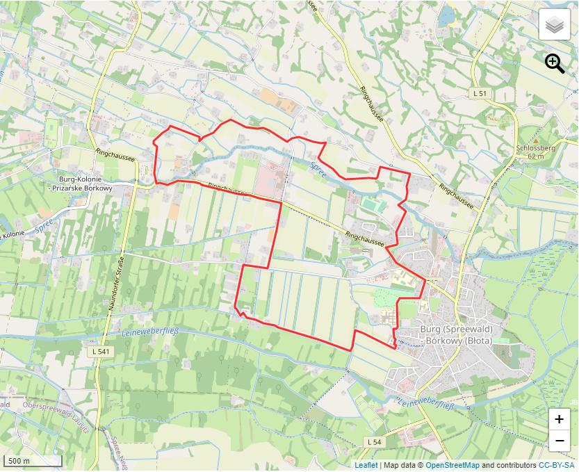 Tourverlauf der Tour Entschleunigende Wandertour durch den Ort Burg (Spreewald)