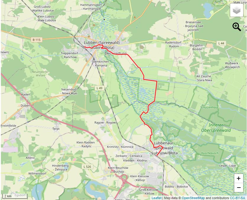 Tourverlauf der Tour Von Lübben über den Barzlin nach Lübbenau