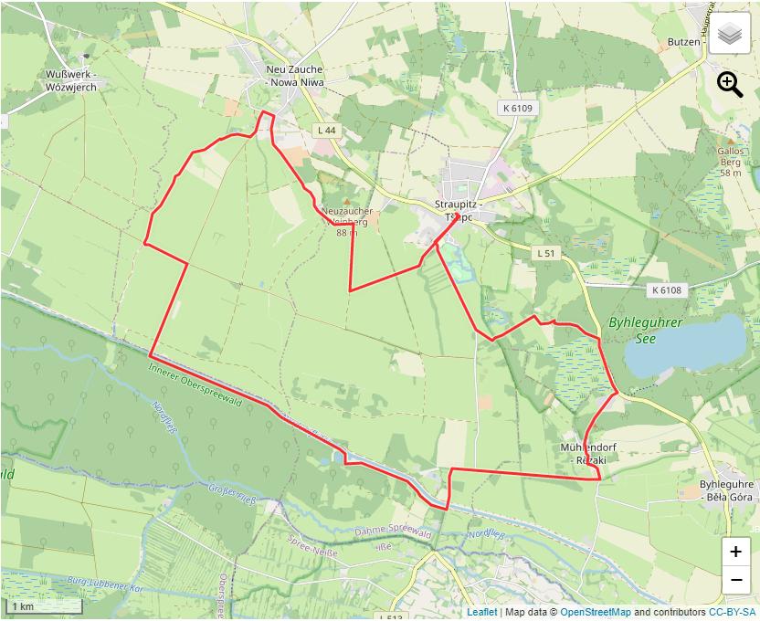 Tourverlauf der Tour Wandertour durch den Nördlichen Oberspreewald