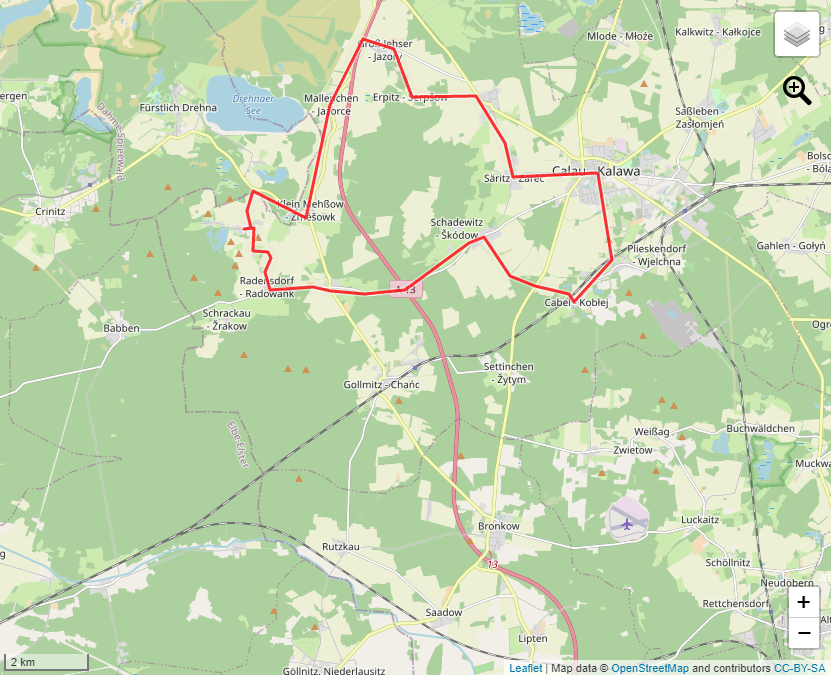 Tourverlauf der Tour Calauer Sagentour: Zu Fuß vorbei an Feldsteinkirchen und  Guthäusern