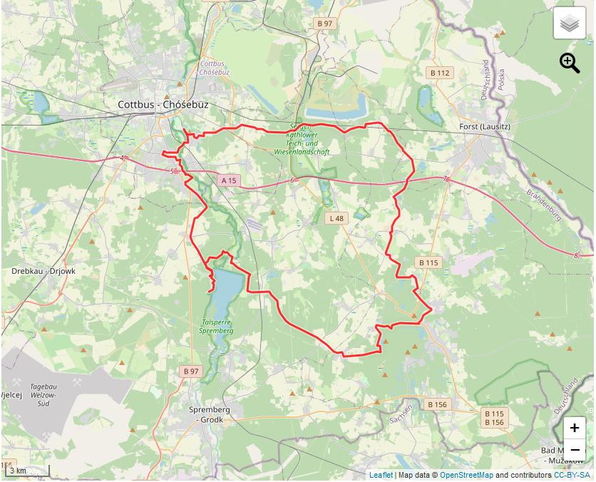 Tourverlauf der Tour Altbergbau- und Niederlausitzer Bergbautour