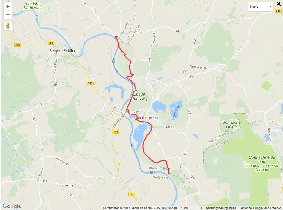 Tourverlauf der Tour Unterwegs auf dem Elberadweg
