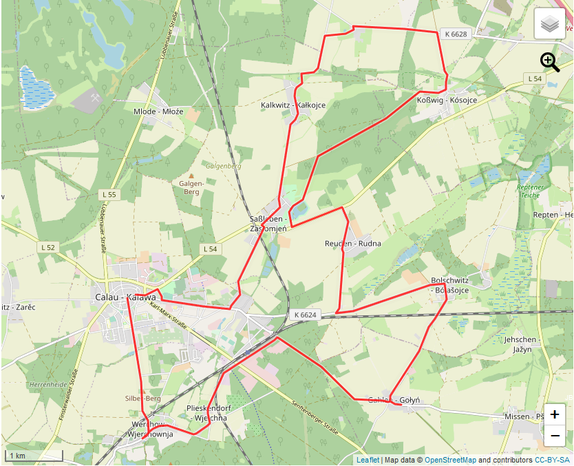 Tourverlauf der Tour Calauer Sagentour: Mit dem Rad vorbei am Saßlebener Park & Kirchen