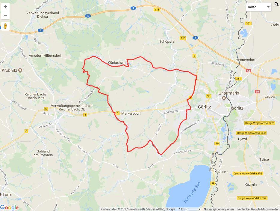 Tourverlauf der Tour Radtour durch die Oberlausitz: Görlitzer Landtour