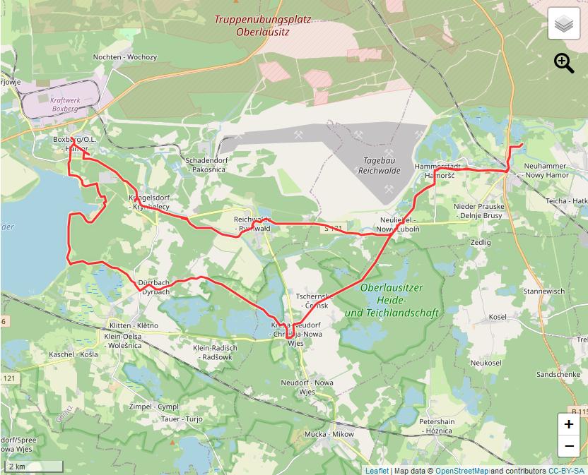Tourverlauf der Tour Radtour zum Bärwaldersee