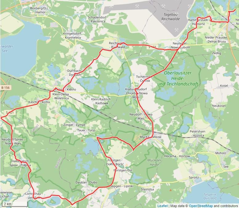 Tourverlauf der Tour Radtour durch das Biosphärenreservat