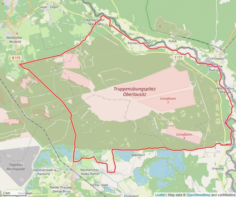 Tourverlauf der Tour Radtour durch die Dörfer an der Neiße