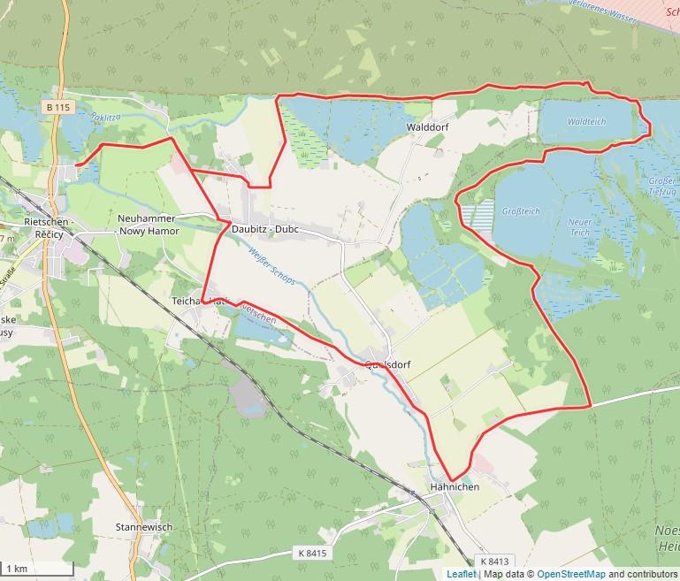 Tourverlauf der Tour Radtour vom Erlichthof Rietschen entlang verschiedener Seen