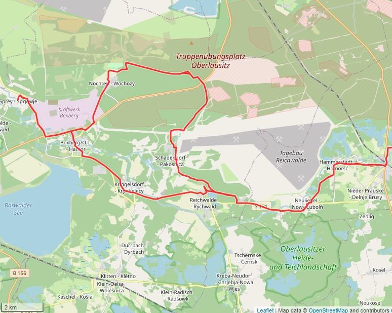 Tourverlauf der Tour Fahrradtour zum Findlingspark und der Schrotholzkirche