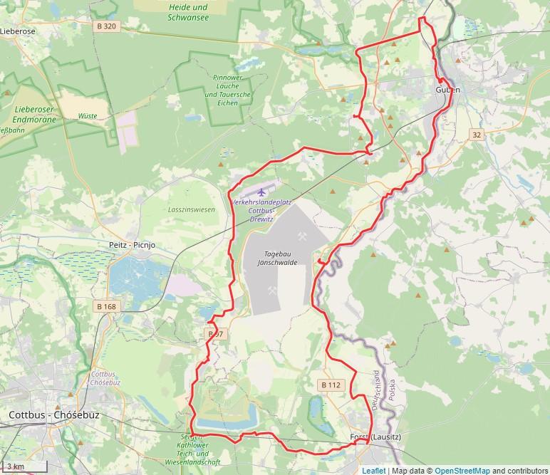 """Tourverlauf der Tour Radtour """"Handwerk trifft Genuss"""": von Forst (Lausitz) nach Guben"""