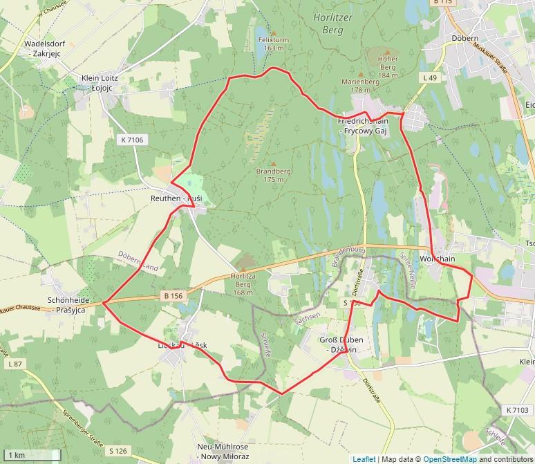 Tourverlauf der Tour Radtour durch den Geopark Muskauer Faltenbogen