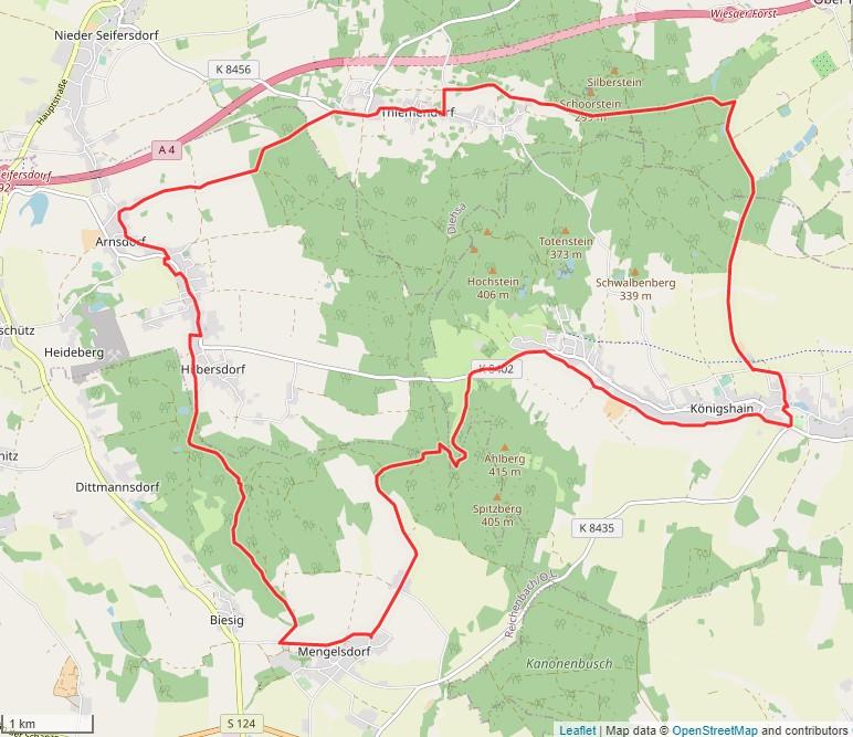 Tourverlauf der Tour Radtour durch die Oberlausitz: Königshainer Berge