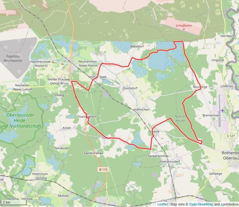 Tourverlauf der Tour Radtour durch die Oberlausitz: Niederspreer Teichgebiet