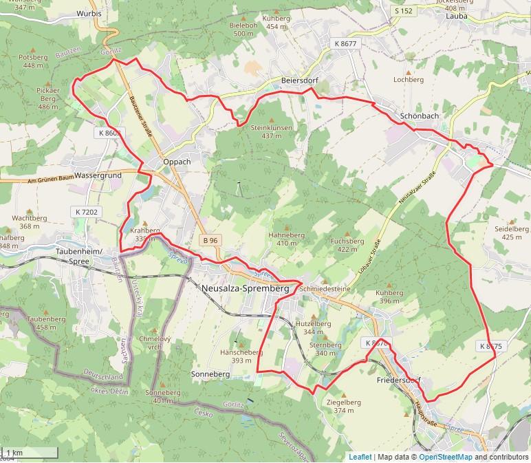 Tourverlauf der Tour Radtour durch die Oberlausitz: Rund um den Großen Wald