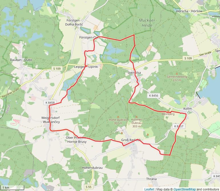 Tourverlauf der Tour Radtour durch die Oberlausitz: Kollmer Höhen