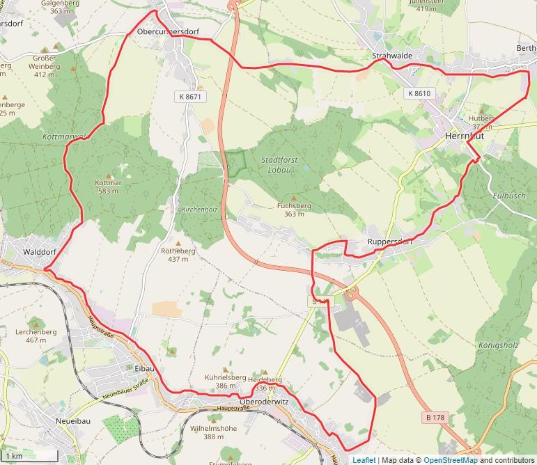 Tourverlauf der Tour Radtour durch die Oberlausitz: Rund um den Kottmar