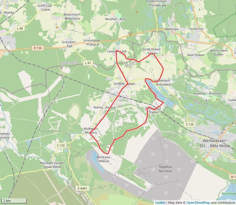 Tourverlauf der Tour Radtour durch die Oberlausitz: Schleifer Kirchspiel