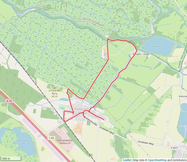 Tourverlauf der Tour Mit dem Fahrrad auf dem Historischer Rundweg Raddusch