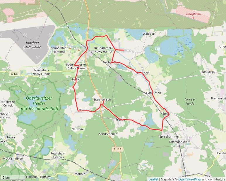Tourverlauf der Tour Mit dem Fahrrad durch die Heidedörfer