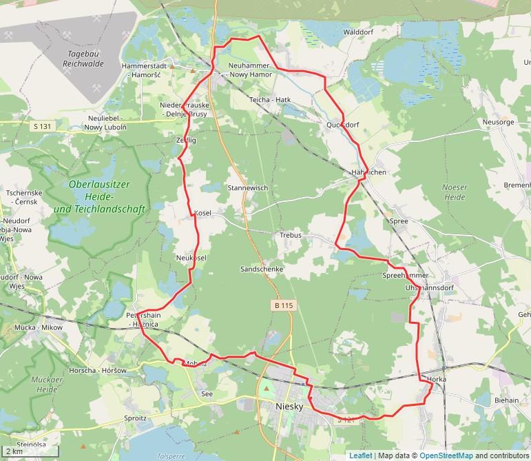 Tourverlauf der Tour Mit dem Rad entlang historischer Kirchen