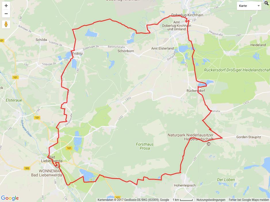 Tourverlauf der Tour Mit dem Fahrrad von Doberlug-Kirchhain zum Wonnemar in Bad Liebenwerda
