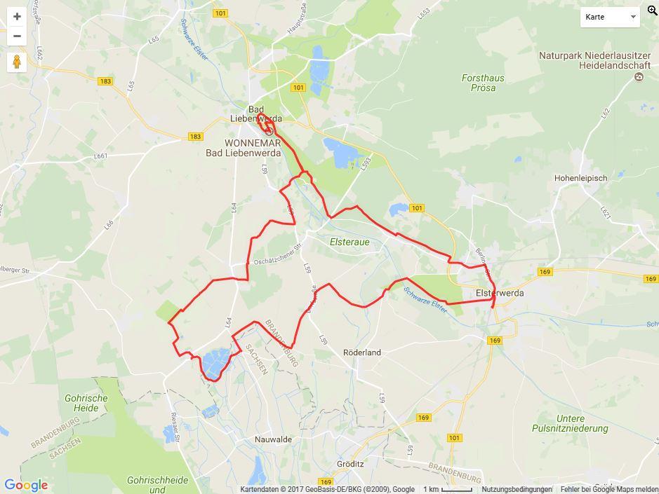 Tourverlauf der Tour Von Elsterwerda zum Wonnemar Erlebnisbad nach Bad Liebenwerda