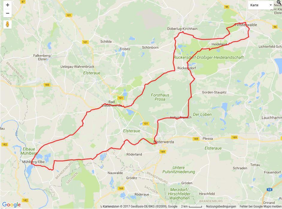 Tourverlauf der Tour Radtour durch die Geschichte des Elbe-Elster-Landes