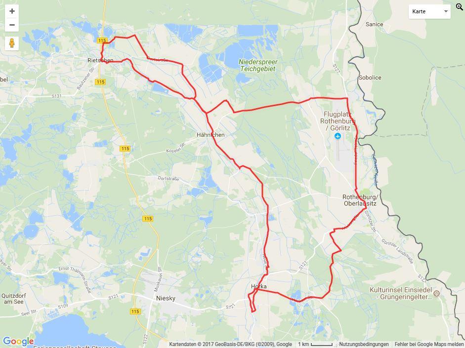 Tourverlauf der Tour Horka und Rothenburg mit dem Fahrrad erkunden