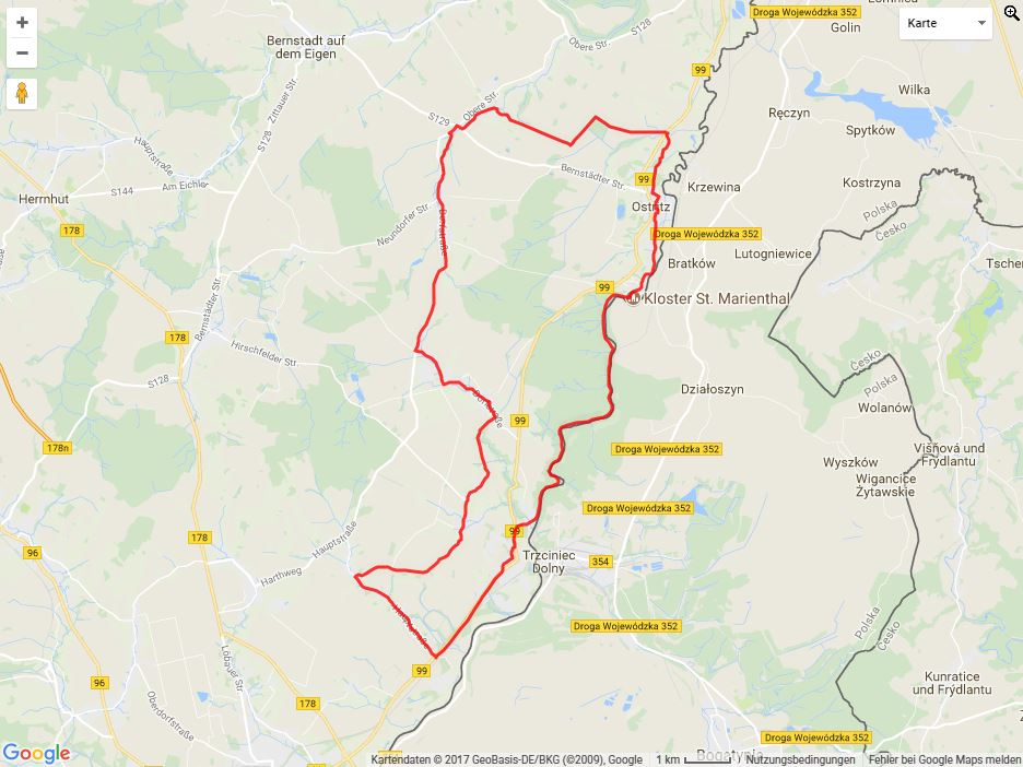 Tourverlauf der Tour Radtour durch die Oberlausitz: Klosterwald-Neiße-Tour