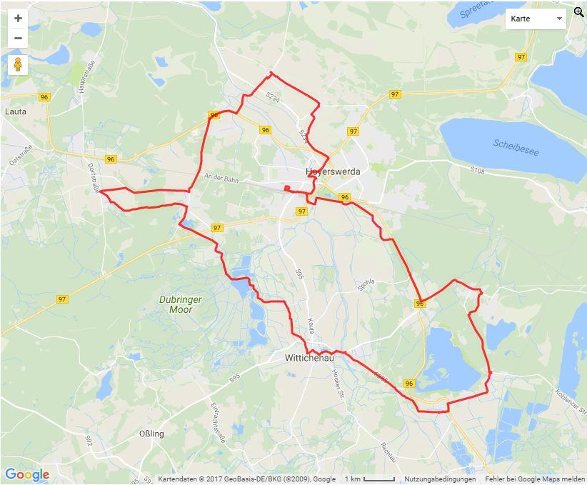 Tourverlauf der Tour Mit dem Fahrrad durch Krabats sorbische Heimat