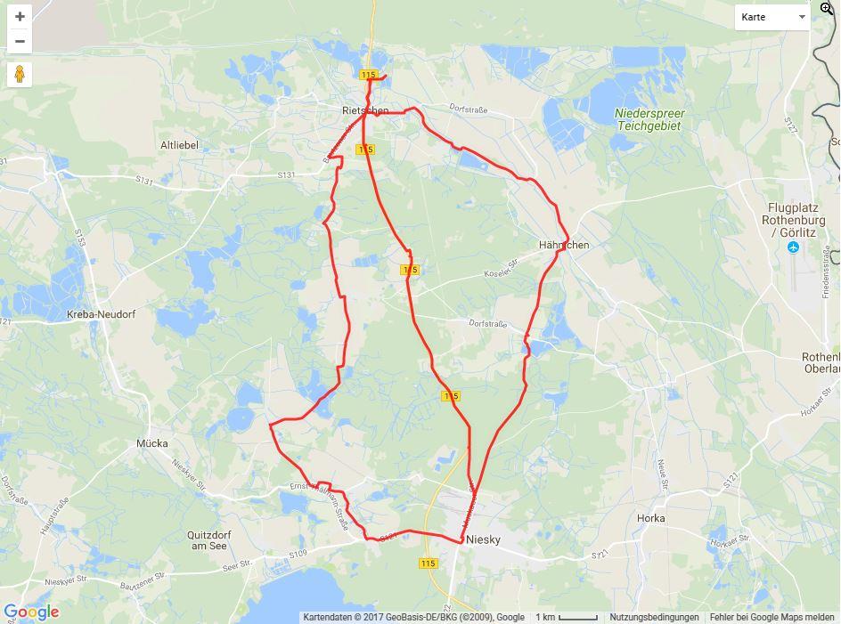Tourverlauf der Tour Radtour nach Niesky