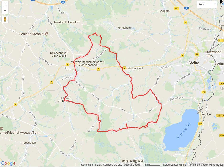 Tourverlauf der Tour Radtour durch die Oberlausitz: Rund um Reichenbach/O.L.