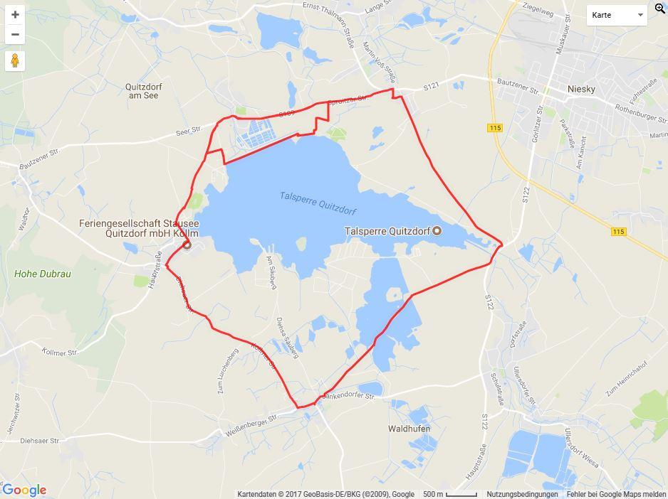 Tourverlauf der Tour Radtour durch die Oberlausitz: Stausee Quitzdorf