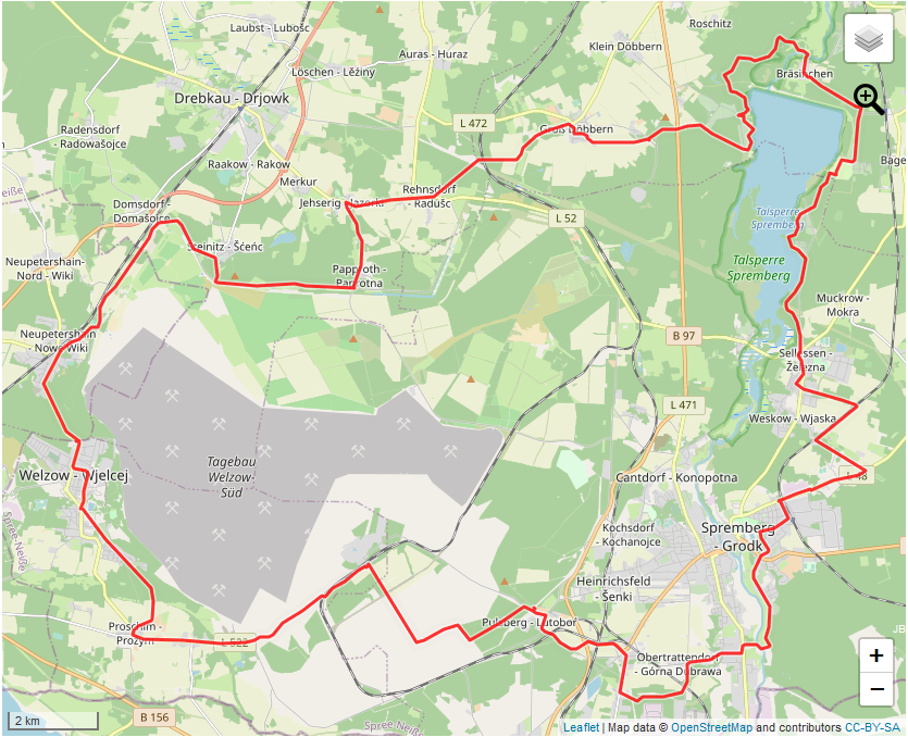 Tourverlauf der Tour Kleine Niederlausitzer Bergbautour (Bagenz)