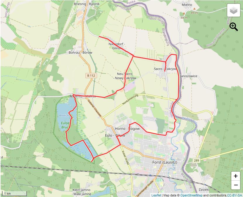 Tourverlauf der Tour Mit dem Fahrrad rund um Forst