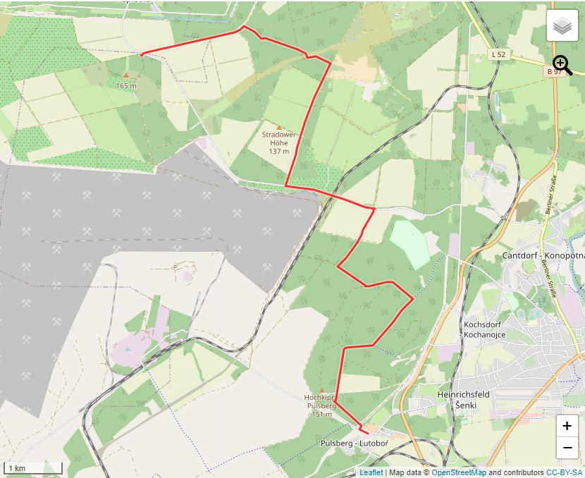 Tourverlauf der Tour Wandertour auf dem ornithologischen Lehrpfad am Tagebau Welzow-Süd