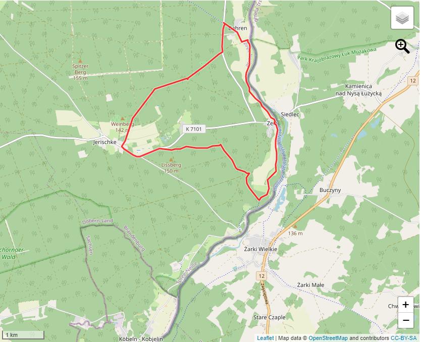 Tourverlauf der Tour Den Jerischker Wald bei einer Wanderung entdecken