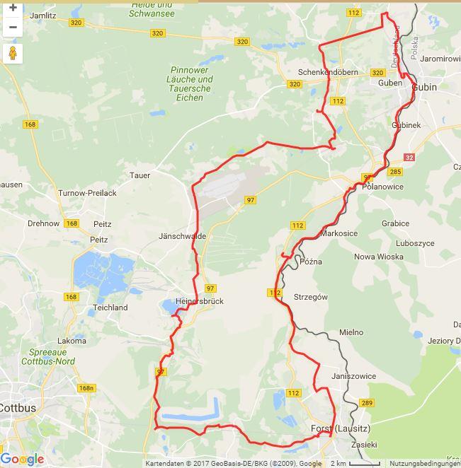 """Tourverlauf der Tour Radtour """"Handwerk trifft Genuss"""" : von Forst (Lausitz) nach Guben"""