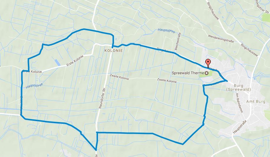 Tourverlauf der Tour Joggingstrecke Burg (Spreewald) – 11 Kilometer rund um die Spreewald Therme